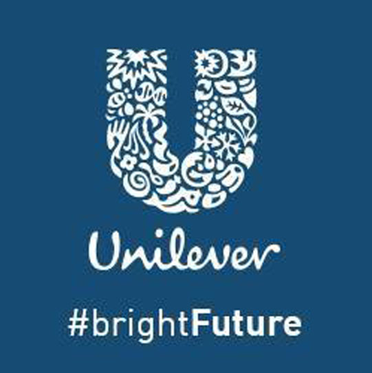 Logo d'Unilever avec un fond bleu
