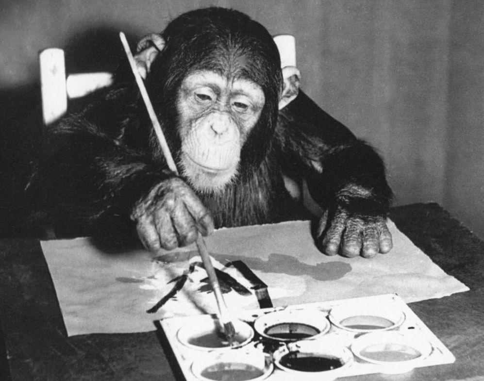 Le chimpanzé Congo réalisant l'une de ses 400 peintures