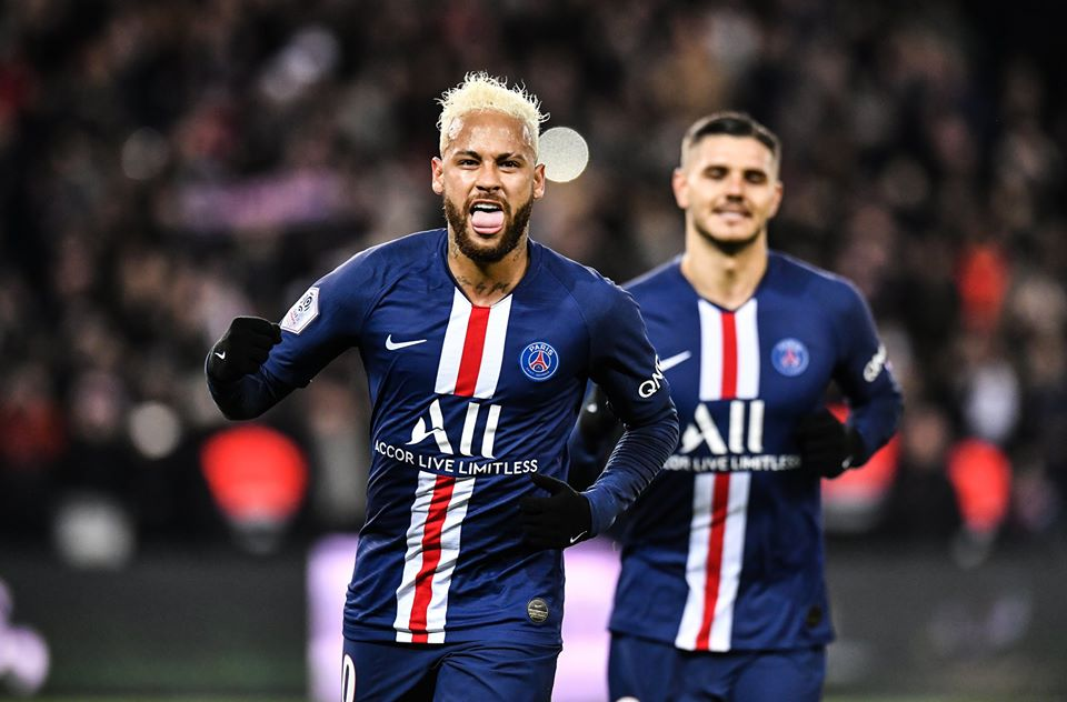 Neymar et Icardi célébrant un but du PSG lors du match aller au Parc des Princes contre AS Monaco, le dimanche 13 janvier 2019.