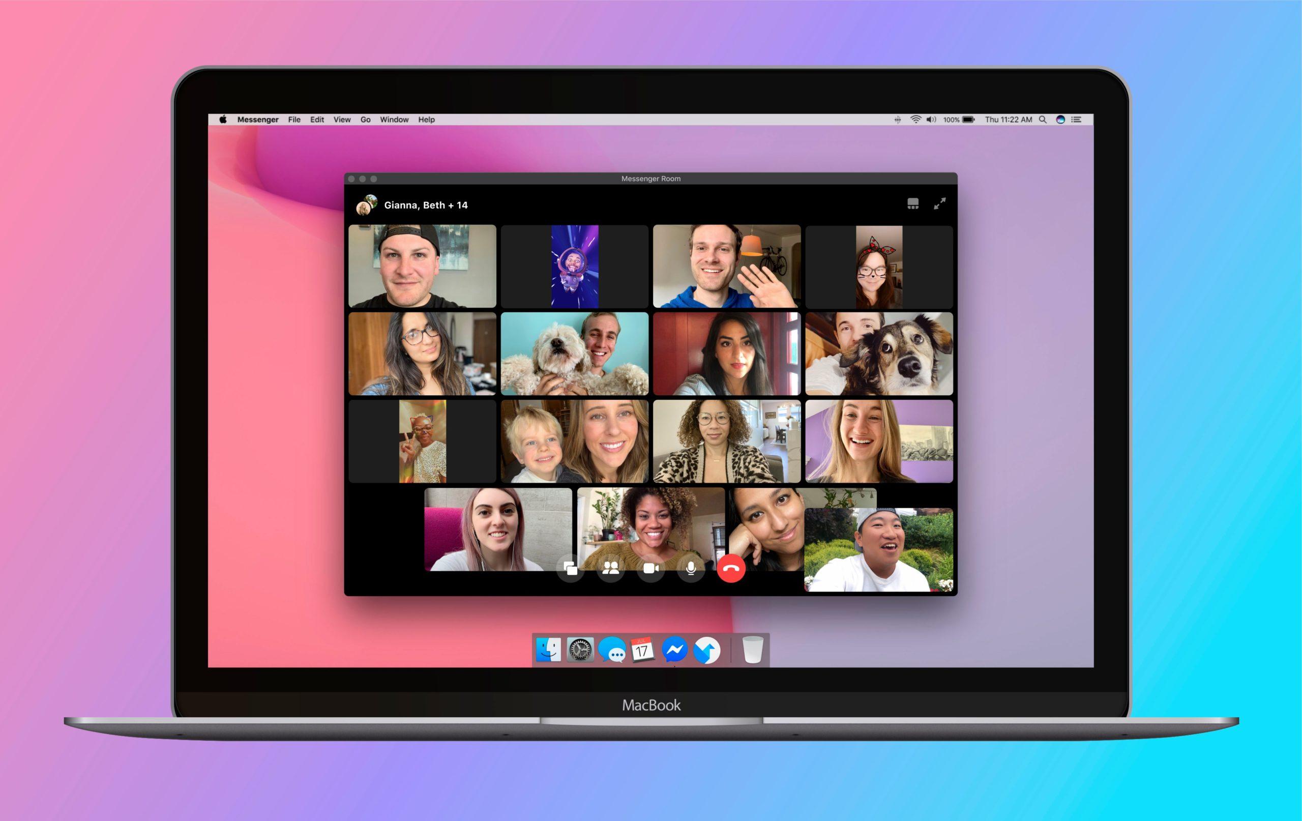 L'interface de Messenger Rooms avec des personnes en visioconférence.